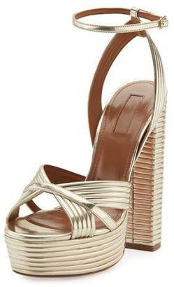 Aquazzura Sundance Plateau Metallic Platform Sandal, Light Gold