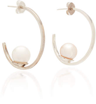 Joie DiGiovanni Sterling Silver and Pearl Hoop Earrings