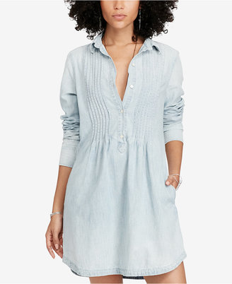 Denim & Supply Ralph Lauren Pintucked Chambray Cotton Dress $125 thestylecure.com