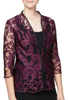 Alex Evenings Plus Two-Piece Embroidered Jacket and Camisole Set