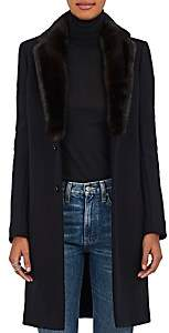 Barneys New York Women's Mink Fur & Felted Wool-Blend Coat - Black