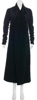 Rick Owens Wool Ruffle-Accented Long Coat