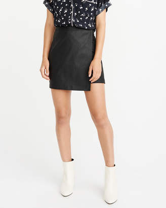 Abercrombie & Fitch Faux Leather Wrap-Front Mini Skirt