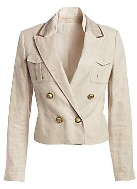 Brunello Cucinelli Women's Linen& Cotton Monili and Pailette Rustic Twill Jacket