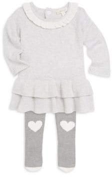 Miniclasix Baby Girl's Ruffle Hem Sweater Dress and Leggings