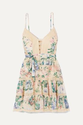Zimmermann Verity Lace-trimmed Floral-print Cotton And Silk-blend Chiffon Mini Dress - Sky blue