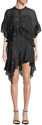 IRO Revolve Ruffle Metallic Asymmetric Dress