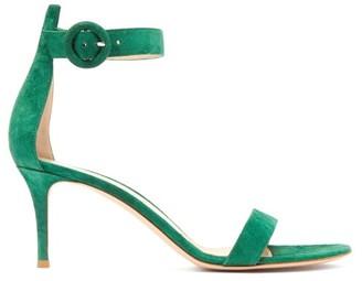 Gianvito Rossi Portofino 70 Suede Sandals - Womens - Dark Green