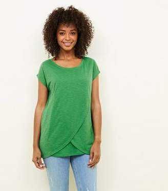 New Look Maternity Green Wrap Front Nursing T-Shirt