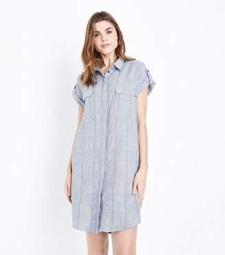 Apricot Blue Check Pattern Shirt Dress