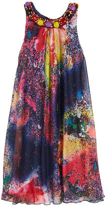 Zoe Mirage Printed Dress with Jeweled Neck, Size 7-16