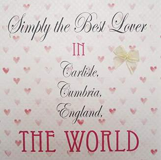 Carlisle WHITE COTTON CARDS Hearts, Carlisle, Simply the Best Lover In Carisle, Cumbria, England, The World Handmade Town Card