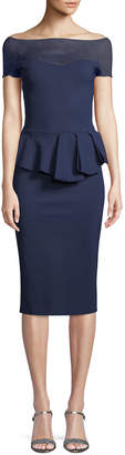Chiara Boni Nabelle Illusion Dress w/ Peplum Waist