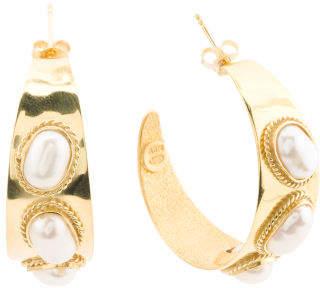 Made In Bali 14k Gold Plated 925 Silver Pearl Hoop Earrings