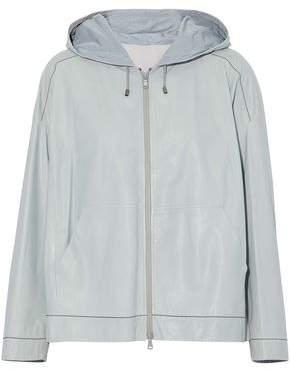 Brunello Cucinelli Bead-Embellished Coated Leather Hooded Jacket