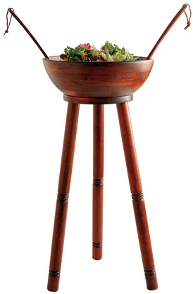 Cherry-Finish Acacia Wood Salad Bowl Stand and Servers