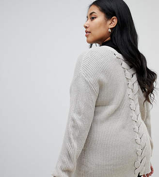 4e33c725830 Brave Soul Plus Bamboo Cardigan with Lace Back Detail