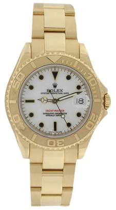 Rolex Yachtmaster 168628 Midsize Solid 18K Yellow Gold White Dial Unisex Watch