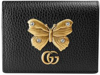 Gucci Leather card case with butterfly