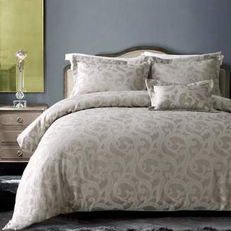 +Hotel by K-bros&Co California Design Den Hotel Windsor Scroll Duvet Cover set Taupe Full/Queen