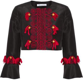 Oscar de la Renta - Tasseled Embroidered Silk-faille Jacket - Black $2,990 thestylecure.com