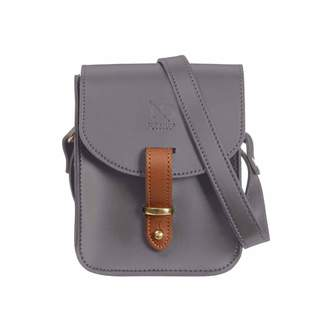 N'damus London Mini Elizabeth Grey Leather Crossbody Satchel Bag