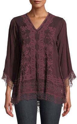 Johnny Was Assic V-Neck Top with Lace Trim, Plus Size