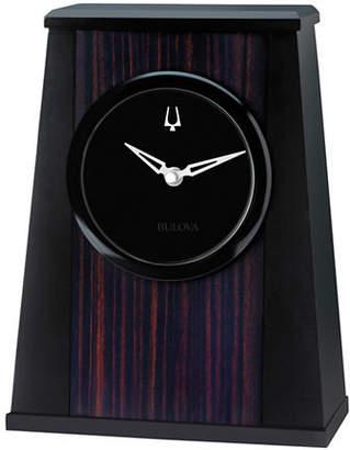 Bulova Oblique Aluminum Wood Tabletop Clock