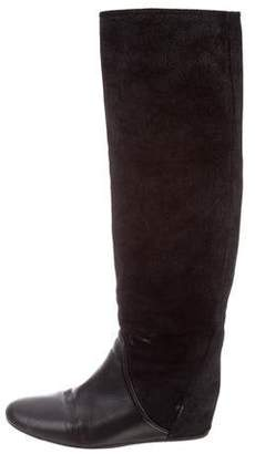 Lanvin Leather Knee-High Wedge Boots