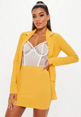 Missguided Yellow Stretch Crepe Mini Skirt