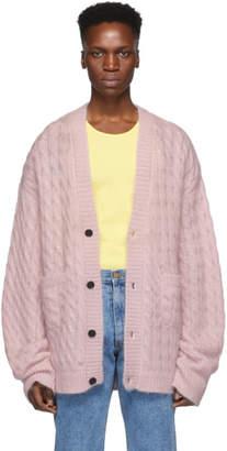 Matthew Adams Dolan Pink Cable Knit Oversized Cardigan