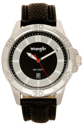 Wrangler Men Watch, 46MM Silver Colored Case with Embossed Arabic Numerals on Bezel, Black Sunray Dial, with Silver Index Markers, Analog Watch with Black Strap