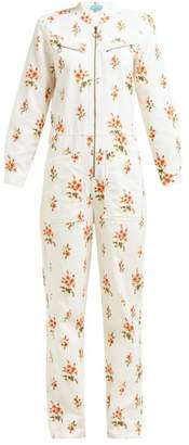 MiH Jeans Margot Floral Print Corduroy Jumpsuit - Womens - White Print