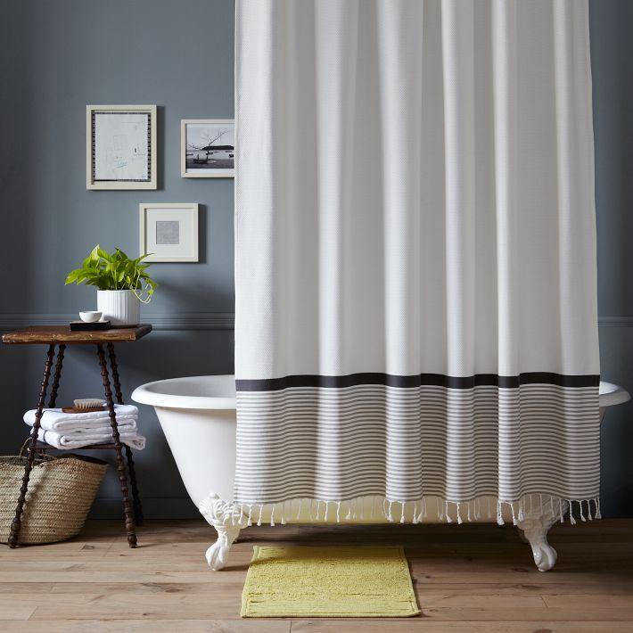 west elm Stripe Border Shower Curtain