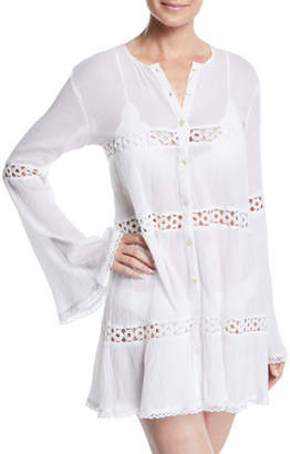 Pilyq Willow Button-Front Long-Sleeve Coverup Tunic
