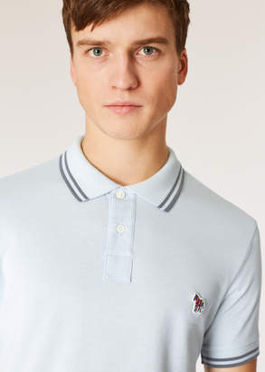Paul Smith Men's Slim-Fit Light Blue Zebra Polo Shirt With Grey Tipping
