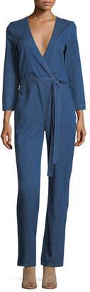 3x1 Moxy Surplice Straight-Leg Denim Pantsuit