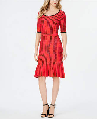 Taylor Elbow-Sleeve Ribbed Sweater Dress