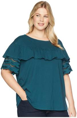 Bobeau B Collection by Plus Size Brynlee Lace Trim Tee Women's T Shirt