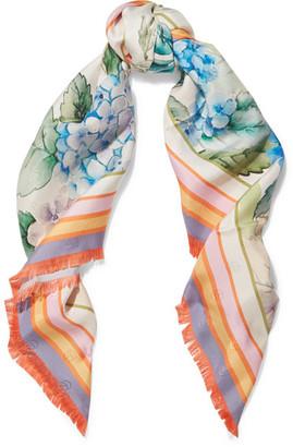 Gucci - Printed Silk-twill Scarf - Lilac $465 thestylecure.com