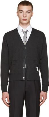 Thom Browne Grey Ribbed Cardigan $630 thestylecure.com