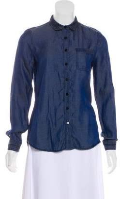 Zac Posen Z Spoke by Long Sleeve Button-Up Top