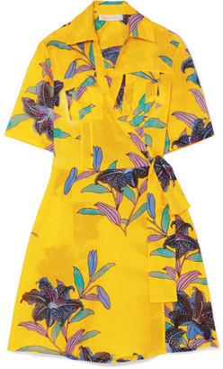 Diane von Furstenberg Floral-print Cotton And Silk-blend Gauze Mini Wrap Dress