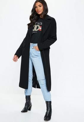 Missguided Black Longline Faux Wool Coat