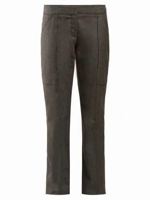 Stella McCartney Straight Leg Wool And Cotton Blend Trousers - Womens - Grey