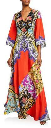 Etro Animal Print Collage Patchwork Caftan
