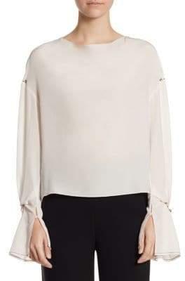 3.1 Phillip Lim Long-Sleeve Silk Draped Blouse