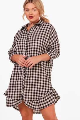 boohoo Plus Jenny Gingham Ruffle Hem Shirt Dress