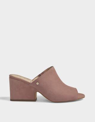 Sam Edelman Rheta Open Toe Mule Shoes in Dusty Rose Kid Suede