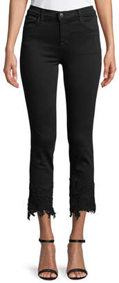 J Brand Ruby High-Rise Crop Cigarette Jeans with Lace Hem
